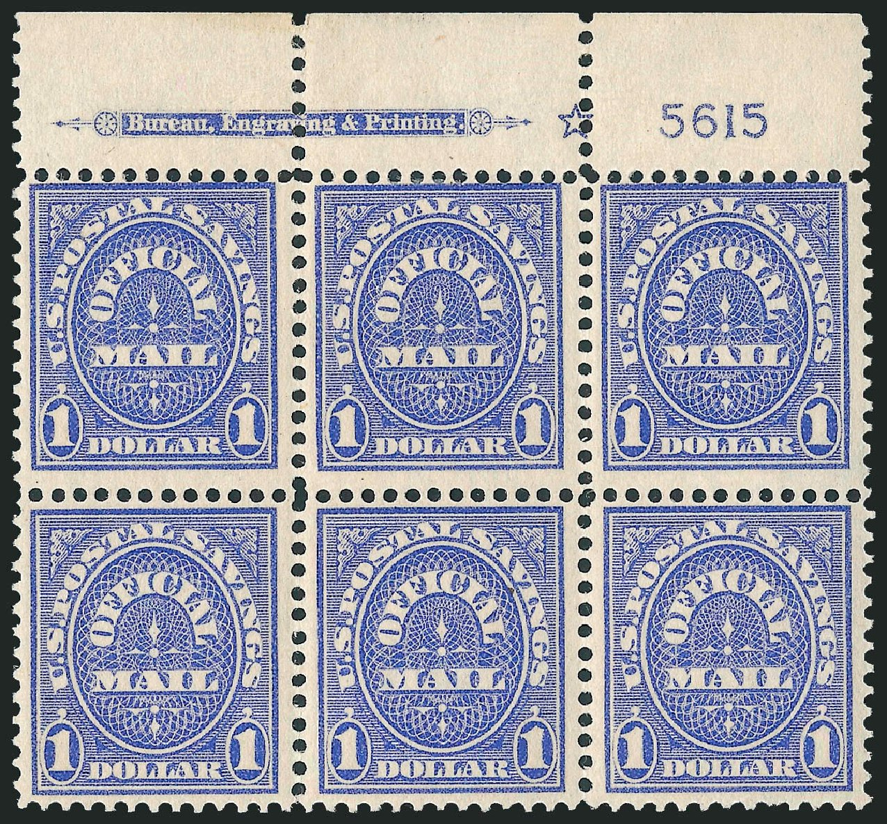 Cost of US Stamps Scott #O123 - US$1.00 1911 Postal Savings Official. Robert Siegel Auction Galleries, Jun 2010, Sale 991, Lot 1480