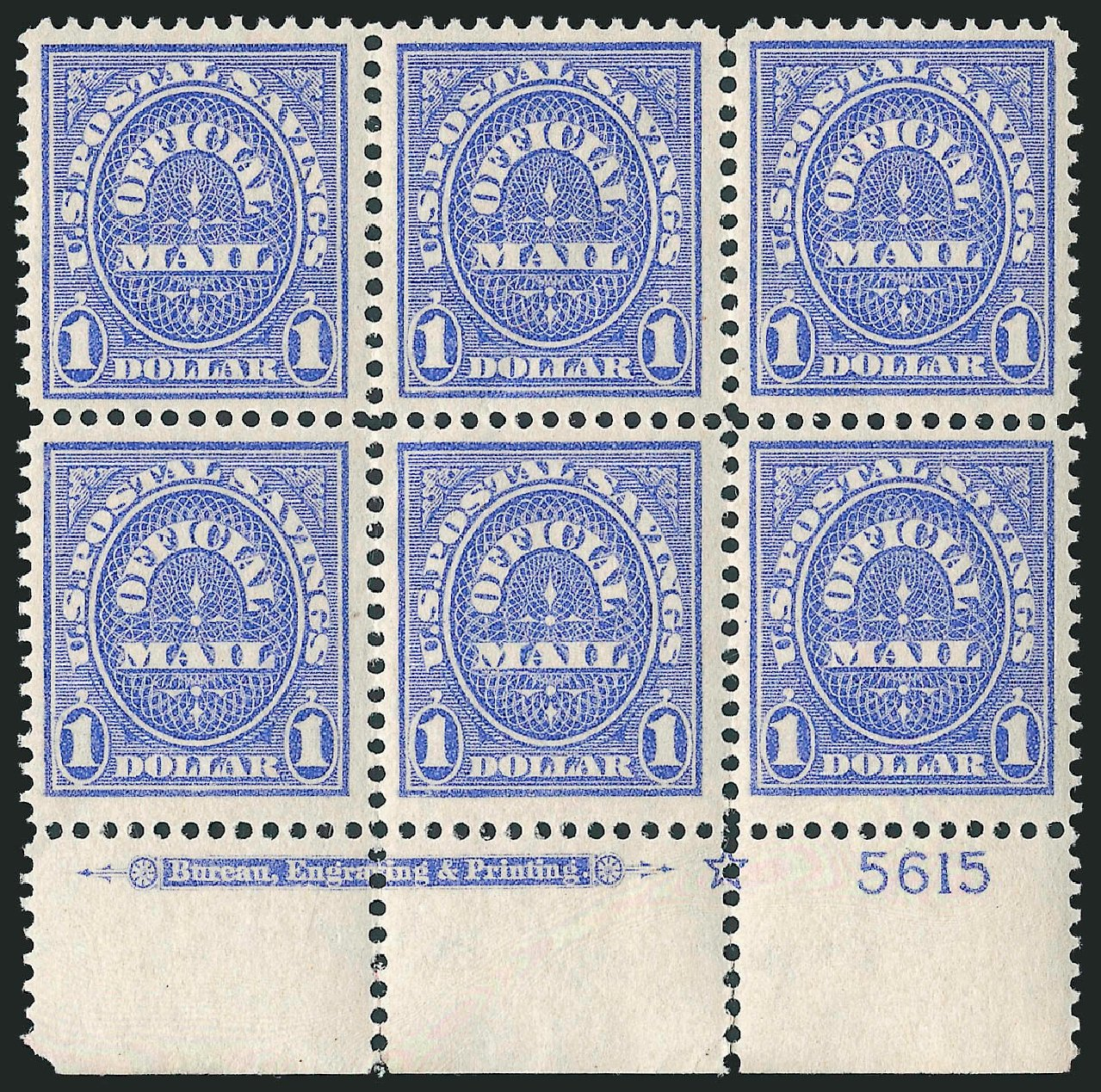 Values of US Stamps Scott Catalog #O123 - US$1.00 1911 Postal Savings Official. Robert Siegel Auction Galleries, Jun 2010, Sale 991, Lot 1481