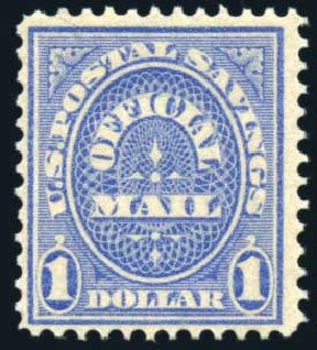 Cost of US Stamp Scott Catalog #O123 - US$1.00 1911 Postal Savings Official. Harmer-Schau Auction Galleries, Feb 2010, Sale 84, Lot 1834