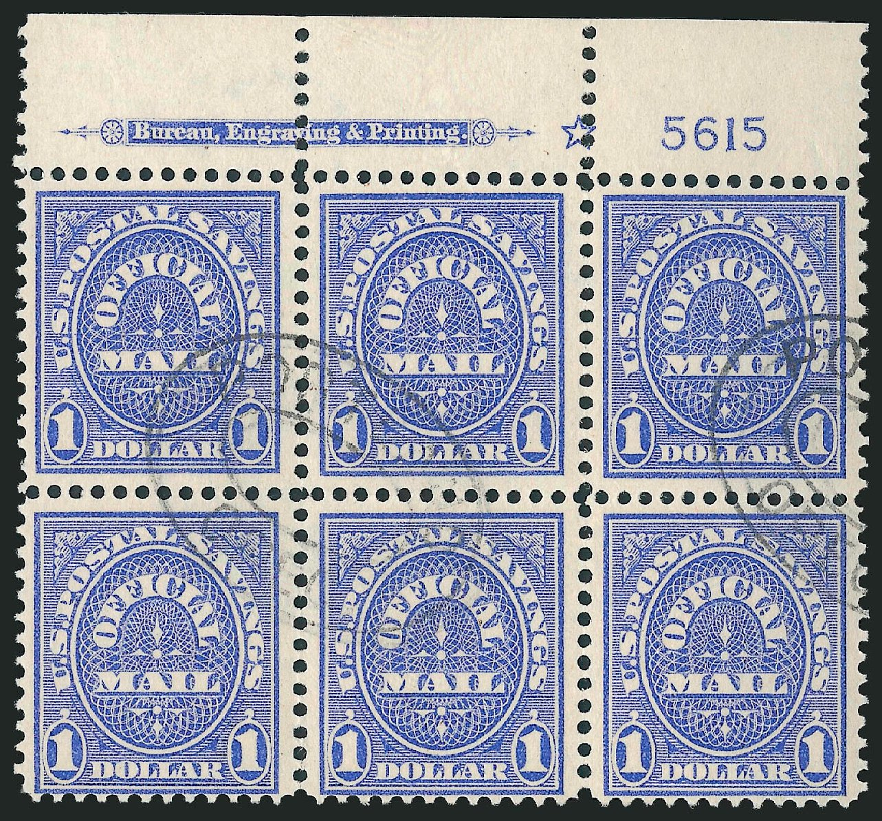 Values of US Stamp Scott Catalog # O123 - 1911 US$1.00 Postal Savings Official. Robert Siegel Auction Galleries, Jun 2010, Sale 991, Lot 1482