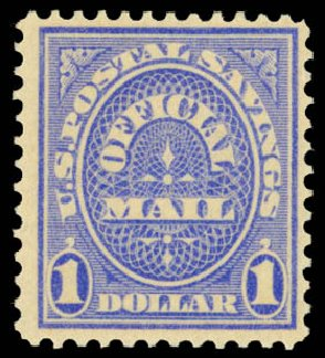 Value of US Stamps Scott Catalogue O123: 1911 US$1.00 Postal Savings Official. Daniel Kelleher Auctions, Aug 2015, Sale 672, Lot 3003