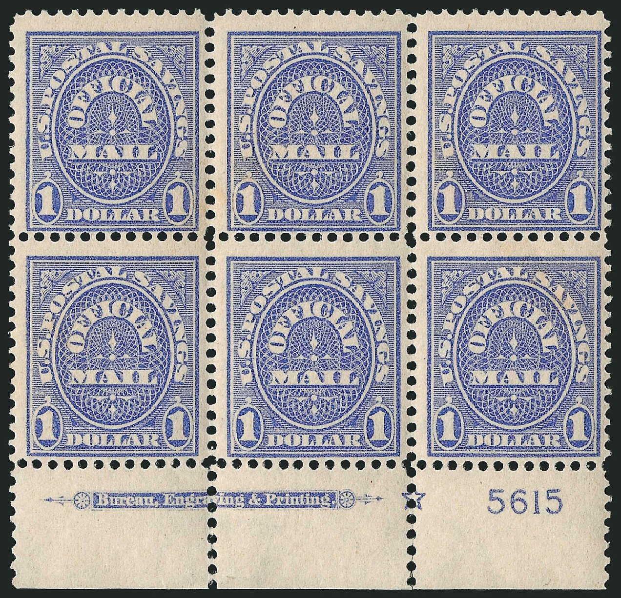 Cost of US Stamps Scott Catalog O123 - 1911 US$1.00 Postal Savings Official. Robert Siegel Auction Galleries, Apr 2015, Sale 1096, Lot 903