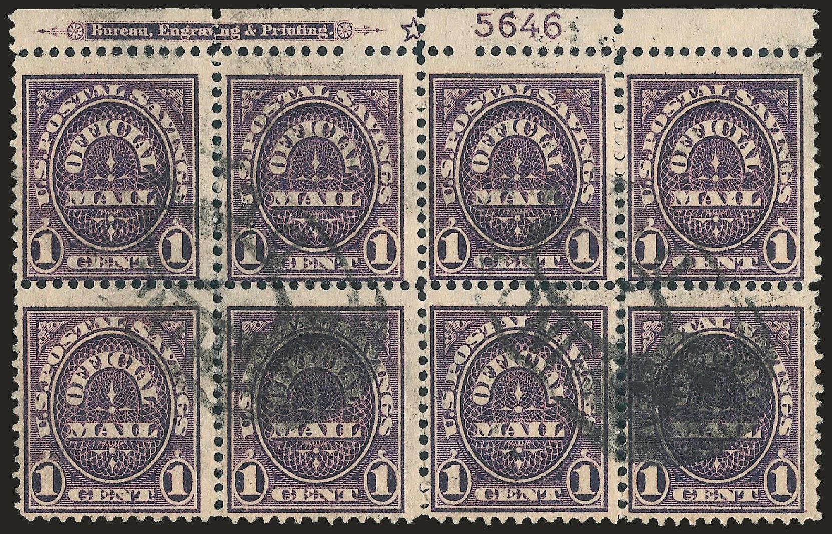 Values of US Stamp Scott Catalogue # O124 - 1c 1911 Postal Savings Official. Robert Siegel Auction Galleries, Jun 2010, Sale 991, Lot 1488