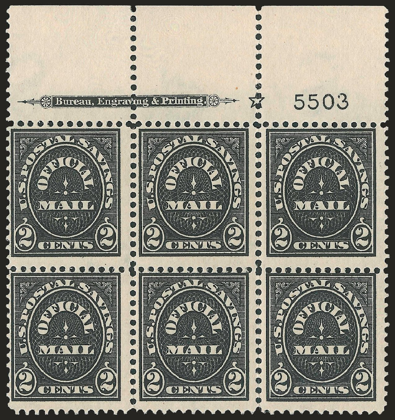 US Stamps Values Scott Catalogue O125 - 1910 2c Postal Savings Official. Robert Siegel Auction Galleries, Jun 2010, Sale 991, Lot 1490