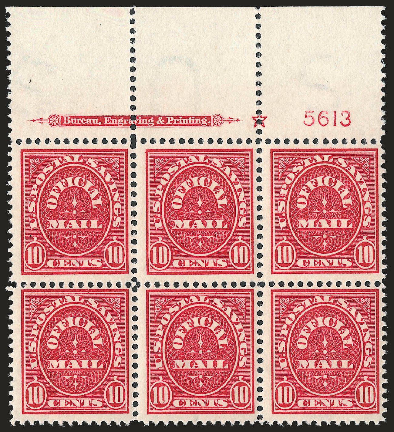 Values of US Stamps Scott #O126: 1911 10c Postal Savings Official. Robert Siegel Auction Galleries, Jun 2010, Sale 991, Lot 1492