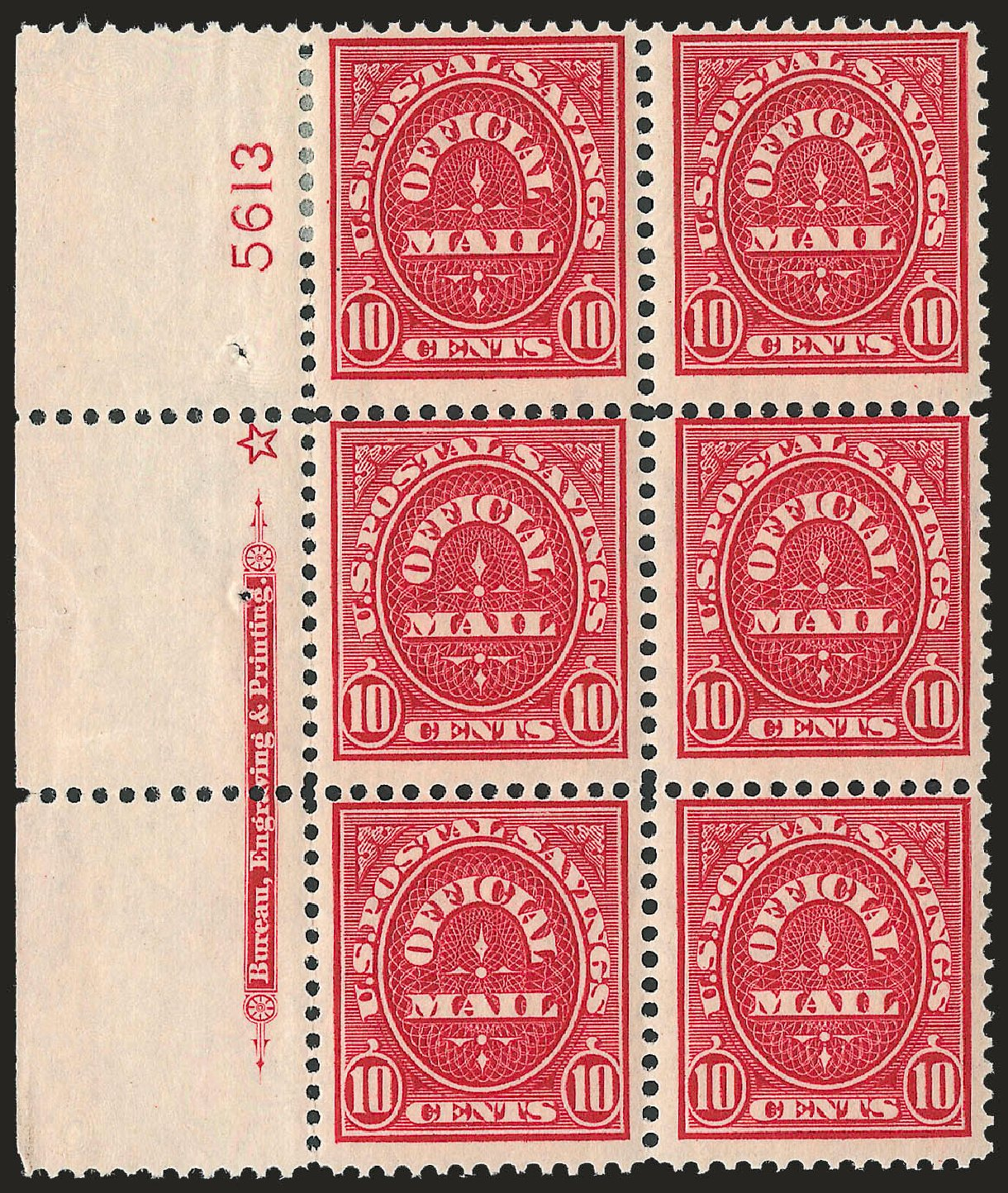 US Stamps Values Scott #O126: 10c 1911 Postal Savings Official. Robert Siegel Auction Galleries, Jun 2010, Sale 991, Lot 1493