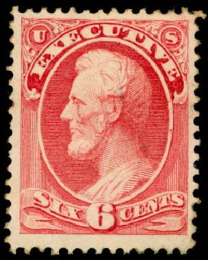 US Stamp Values Scott # O13: 6c 1873 Executive Official. Daniel Kelleher Auctions, Oct 2014, Sale 660, Lot 2549