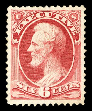 Value of US Stamp Scott Cat. #O13 - 1873 6c Executive Official. Cherrystone Auctions, Jul 2015, Sale 201507, Lot 2214