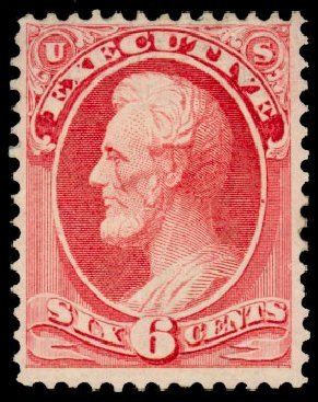 US Stamp Prices Scott Catalog #O13: 1873 6c Executive Official. Daniel Kelleher Auctions, Dec 2013, Sale 640, Lot 594