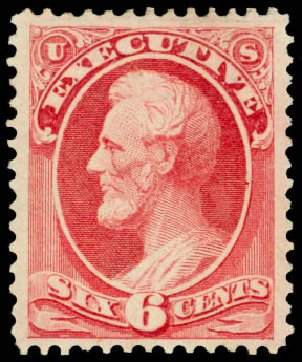 Costs of US Stamp Scott Cat. # O13: 1873 6c Executive Official. Daniel Kelleher Auctions, Sep 2014, Sale 655, Lot 875