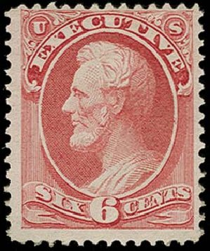 US Stamps Price Scott Cat. #O13: 6c 1873 Executive Official. H.R. Harmer, Oct 2014, Sale 3006, Lot 1526