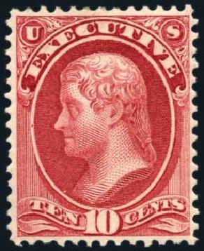 Values of US Stamps Scott Catalogue # O14: 10c 1873 Executive Official. Harmer-Schau Auction Galleries, Feb 2010, Sale 84, Lot 1817