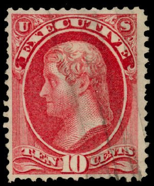 Value of US Stamp Scott Catalog #O14: 10c 1873 Executive Official. Daniel Kelleher Auctions, Dec 2013, Sale 640, Lot 597