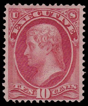 Values of US Stamps Scott Catalogue O14: 10c 1873 Executive Official. Daniel Kelleher Auctions, Jan 2015, Sale 663, Lot 2148