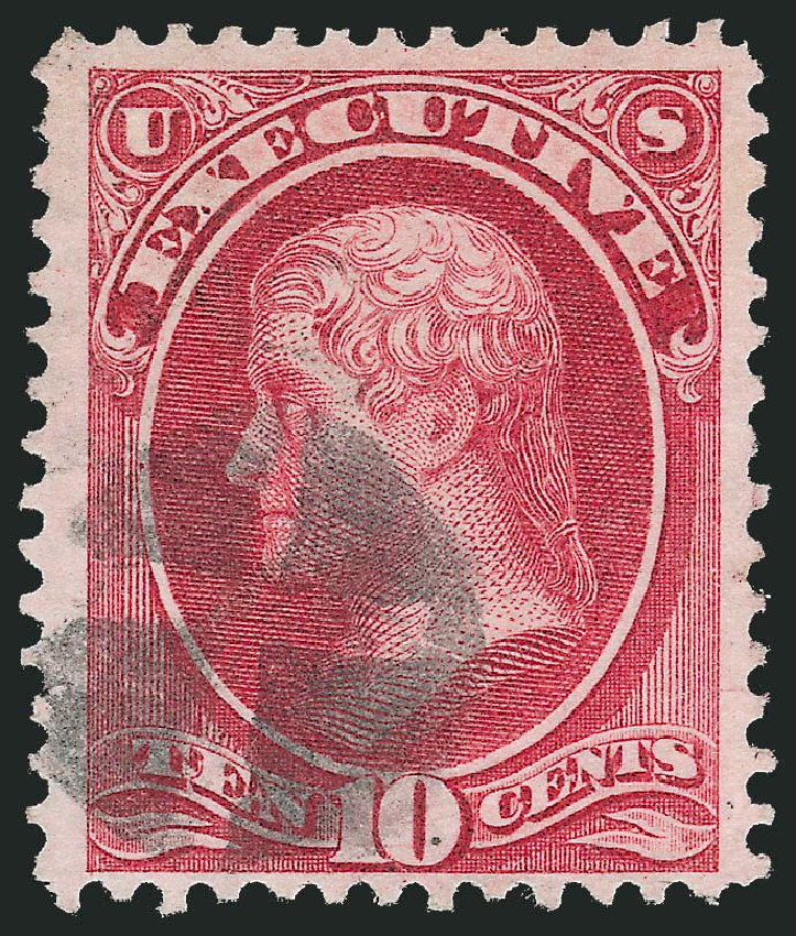 Values of US Stamp Scott #O14: 1873 10c Executive Official. Robert Siegel Auction Galleries, Dec 2013, Sale 1062, Lot 828