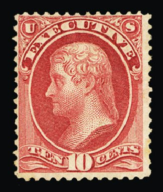 US Stamp Price Scott Catalogue O14: 10c 1873 Executive Official. Cherrystone Auctions, Jul 2015, Sale 201507, Lot 2215