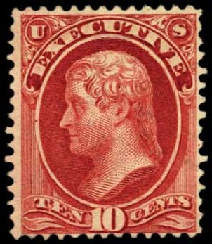 Costs of US Stamp Scott Catalogue #O14 - 1873 10c Executive Official. Harmer-Schau Auction Galleries, Feb 2012, Sale 92, Lot 1322