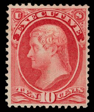 US Stamp Value Scott Catalogue #O14: 1873 10c Executive Official. Daniel Kelleher Auctions, May 2015, Sale 669, Lot 3343