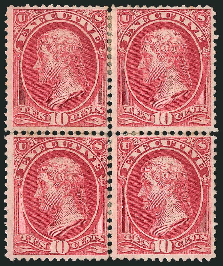 Prices of US Stamps Scott Catalog O14 - 1873 10c Executive Official. Robert Siegel Auction Galleries, Nov 2014, Sale 1085, Lot 4033