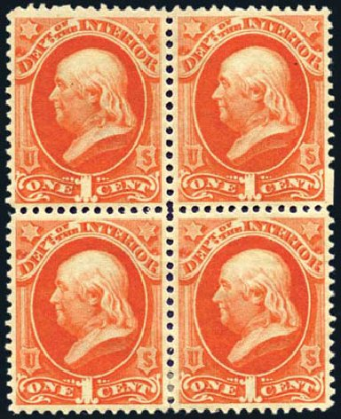 Costs of US Stamps Scott Cat. #O15: 1c 1873 Interior Official. Harmer-Schau Auction Galleries, Aug 2011, Sale 90, Lot 1709