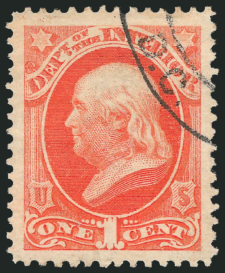 Values of US Stamp Scott Catalogue # O15 - 1c 1873 Interior Official. Robert Siegel Auction Galleries, Oct 2012, Sale 1032, Lot 3650
