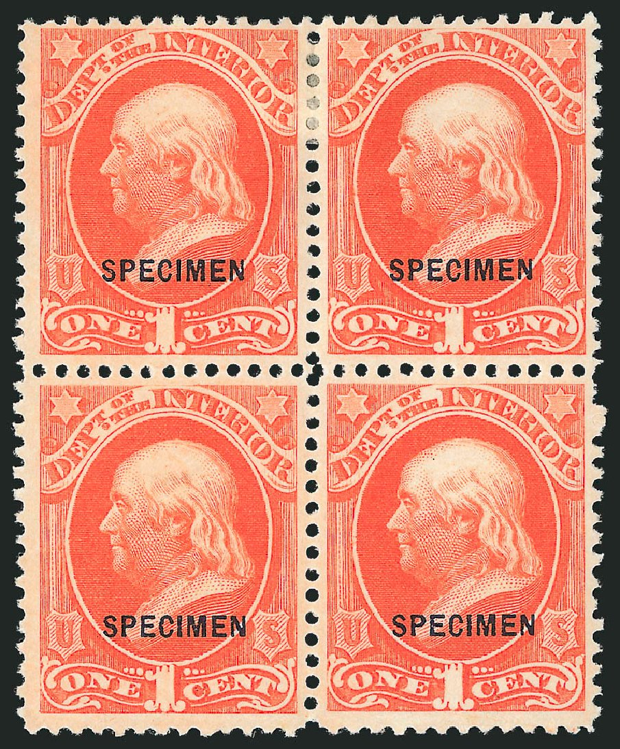 US Stamp Prices Scott Catalogue O15: 1c 1873 Interior Official. Robert Siegel Auction Galleries, Mar 2015, Sale 1095, Lot 545