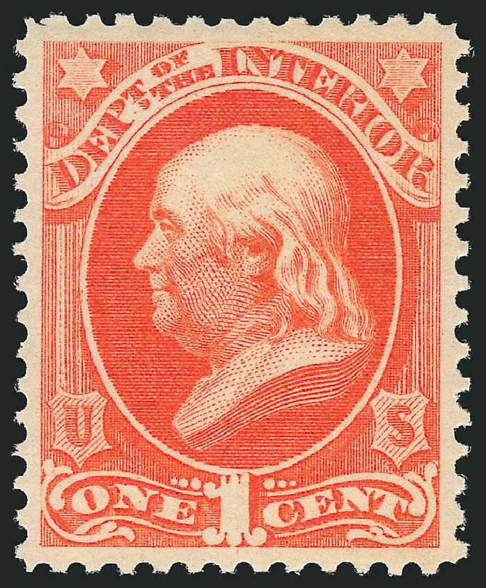 Price of US Stamps Scott Cat. # O15 - 1873 1c Interior Official. Robert Siegel Auction Galleries, Feb 2015, Sale 1092, Lot 1453