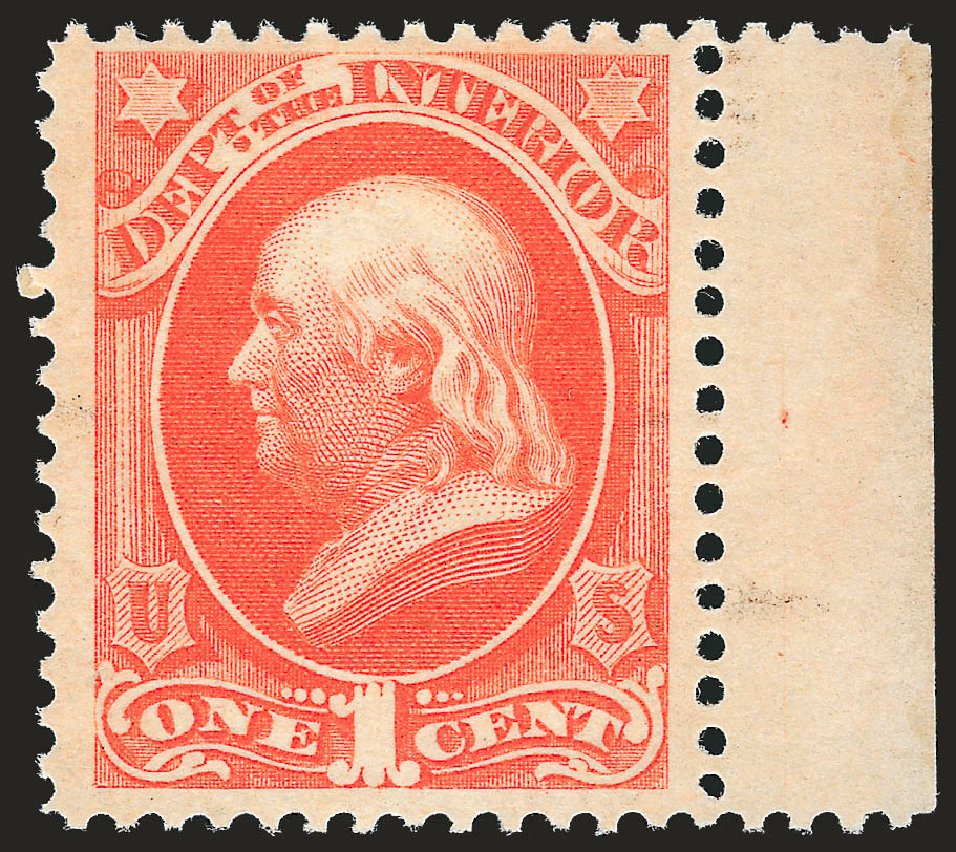 Costs of US Stamps Scott Cat. O15: 1873 1c Interior Official. Robert Siegel Auction Galleries, Sep 2009, Sale 976, Lot 2323