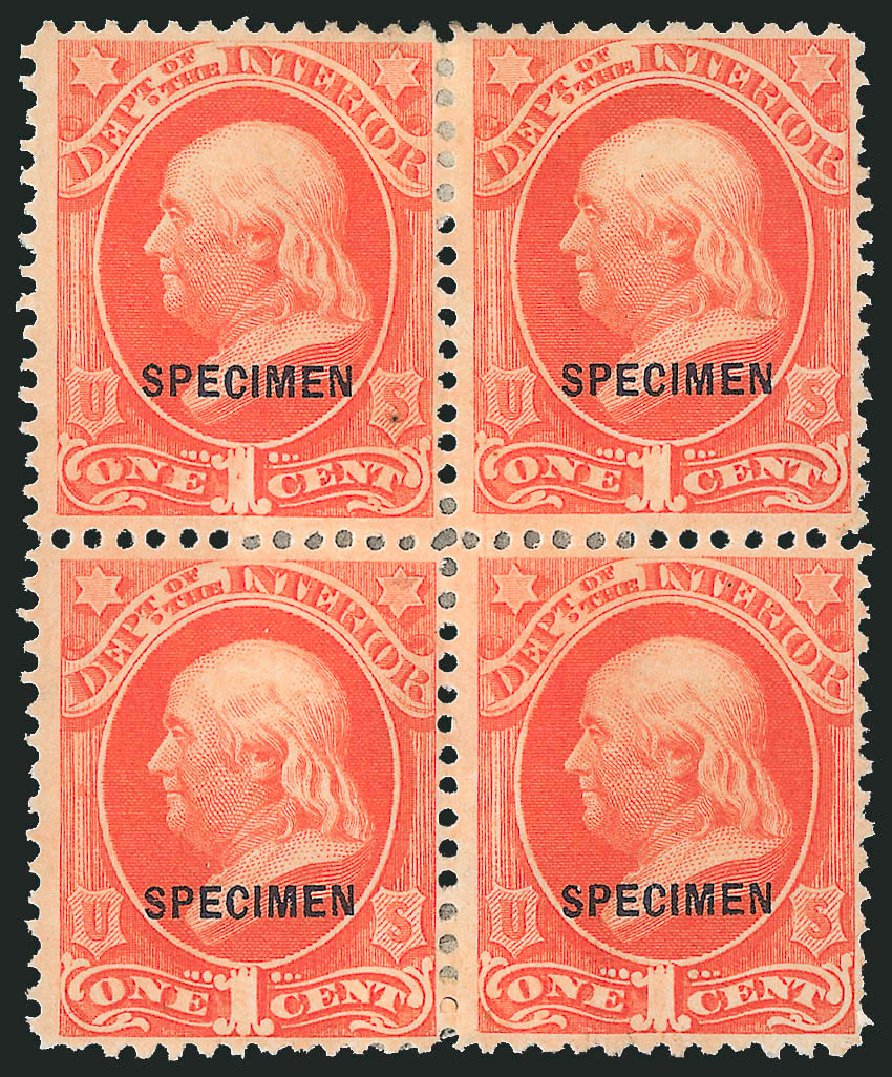 US Stamps Values Scott Catalog # O15 - 1c 1873 Interior Official. Robert Siegel Auction Galleries, Mar 2015, Sale 1095, Lot 546
