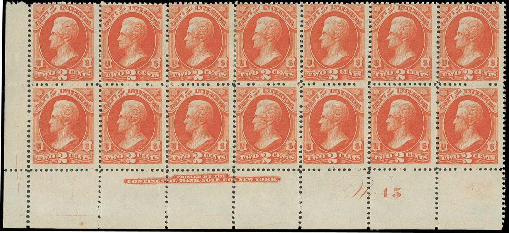 Costs of US Stamp Scott Catalogue #O16 - 1873 2c Interior Official. H.R. Harmer, Oct 2014, Sale 3006, Lot 1527