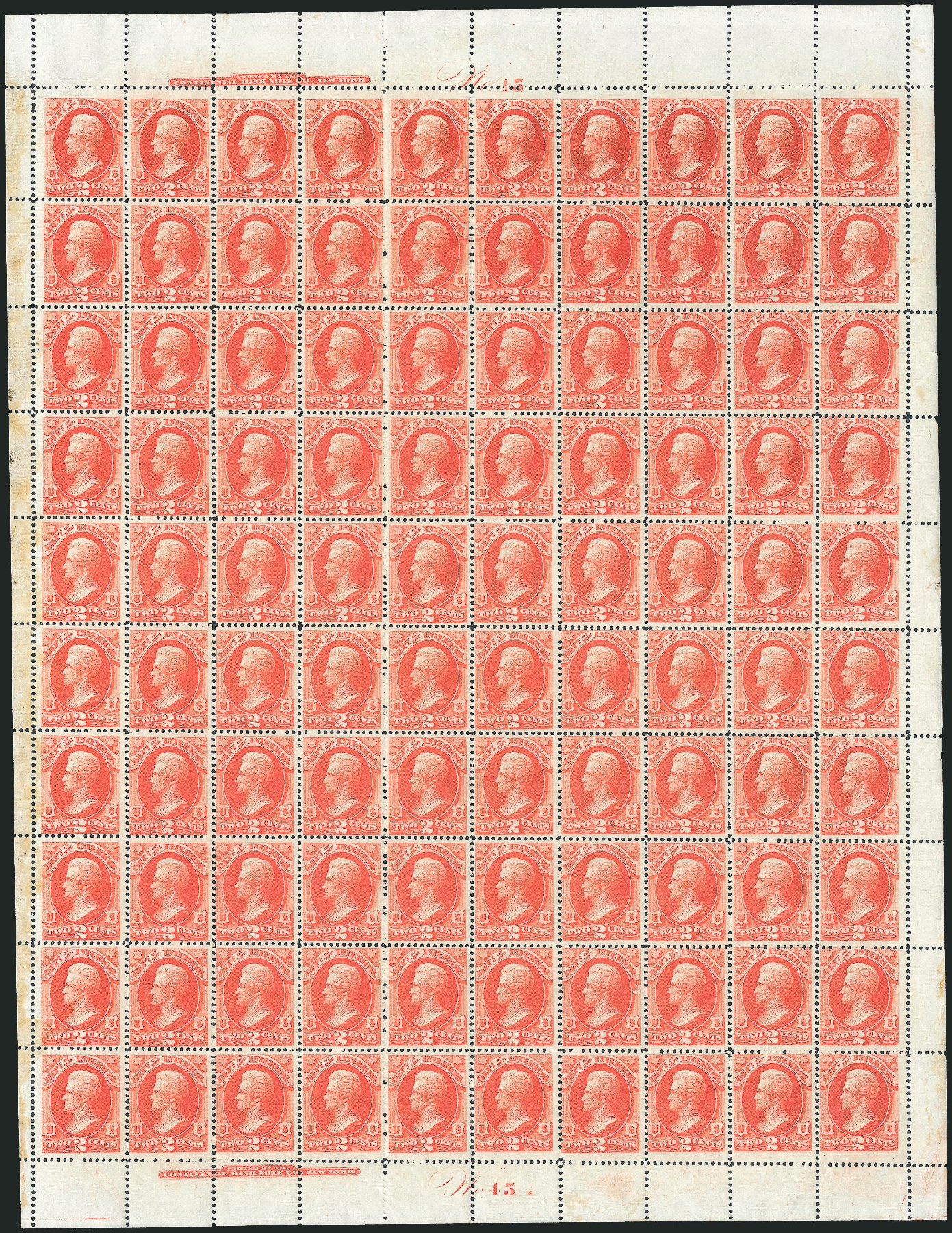 US Stamps Price Scott Catalog # O16: 1873 2c Interior Official. Robert Siegel Auction Galleries, Oct 2011, Sale 1014, Lot 2349