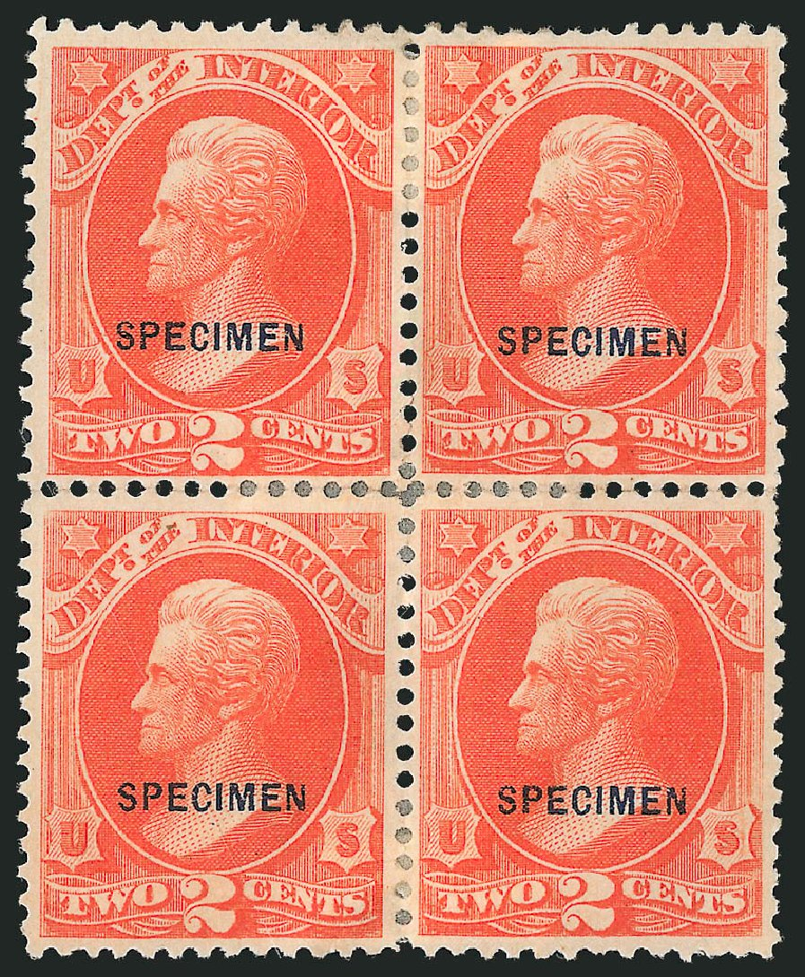 US Stamps Values Scott Catalog #O16: 1873 2c Interior Official. Robert Siegel Auction Galleries, Mar 2015, Sale 1095, Lot 549