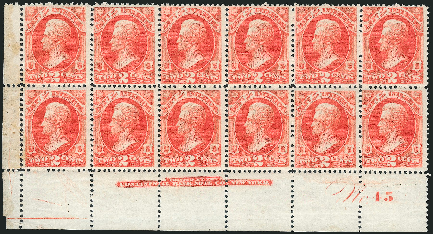 US Stamp Value Scott Catalog O16: 2c 1873 Interior Official. Robert Siegel Auction Galleries, Dec 2011, Sale 1017, Lot 960
