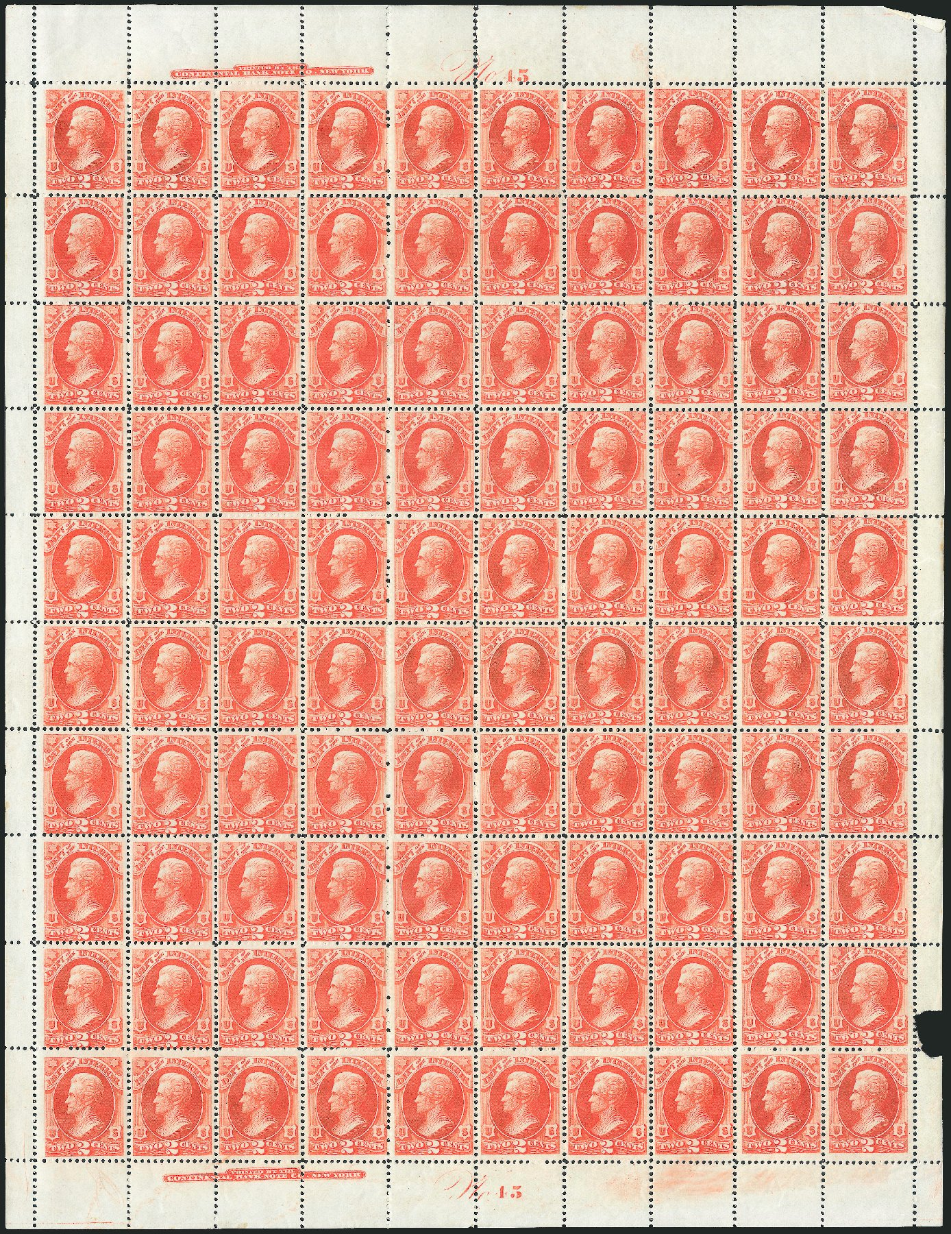 US Stamps Value Scott Catalog # O16: 1873 2c Interior Official. Robert Siegel Auction Galleries, Oct 2011, Sale 1014, Lot 2346