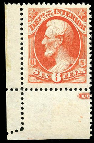 Price of US Stamps Scott #O18: 1873 6c Interior Official. Matthew Bennett International, Apr 2008, Sale 326, Lot 678