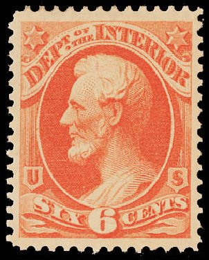 Prices of US Stamps Scott Cat. # O18: 6c 1873 Interior Official. Matthew Bennett International, Jun 2008, Sale 328, Lot 1218