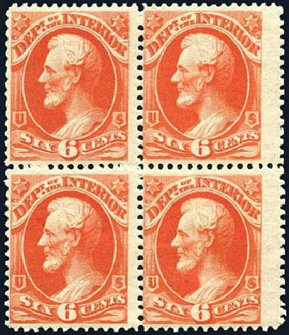 Price of US Stamp Scott Catalogue O18: 6c 1873 Interior Official. Harmer-Schau Auction Galleries, Oct 2010, Sale 87, Lot 409