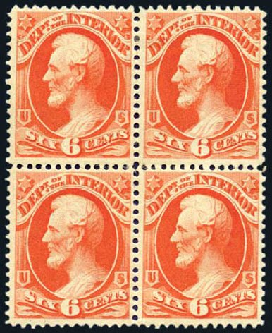 US Stamps Price Scott # O18: 1873 6c Interior Official. Harmer-Schau Auction Galleries, Aug 2011, Sale 90, Lot 1710