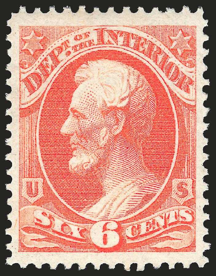 Values of US Stamp Scott Catalogue O18: 6c 1873 Interior Official. Robert Siegel Auction Galleries, Dec 2008, Sale 967, Lot 5150