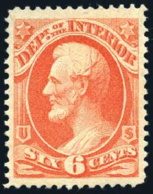 Prices of US Stamps Scott # O18: 1873 6c Interior Official. Harmer-Schau Auction Galleries, Jun 2008, Sale 78, Lot 1741