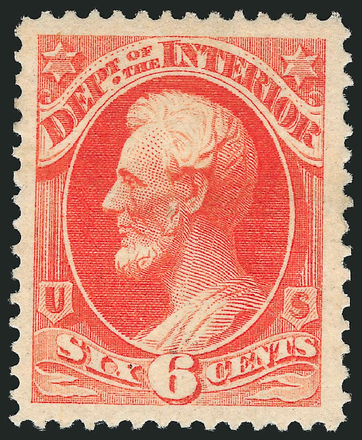 US Stamps Values Scott O18 - 1873 6c Interior Official. Robert Siegel Auction Galleries, Sep 2014, Sale 1078, Lot 661