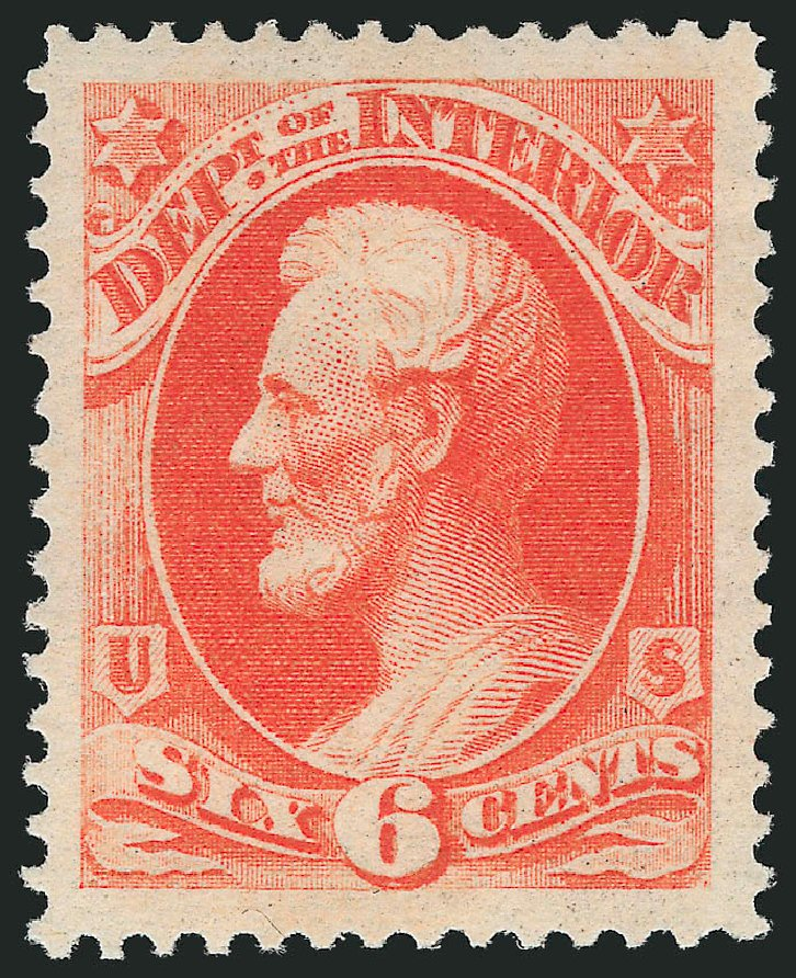 Values of US Stamps Scott Cat. # O18: 6c 1873 Interior Official. Robert Siegel Auction Galleries, Nov 2014, Sale 1085, Lot 4042