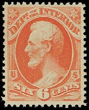 US Stamps Prices Scott Catalog O18 - 6c 1873 Interior Official. H.R. Harmer, Jun 2015, Sale 3007, Lot 3486