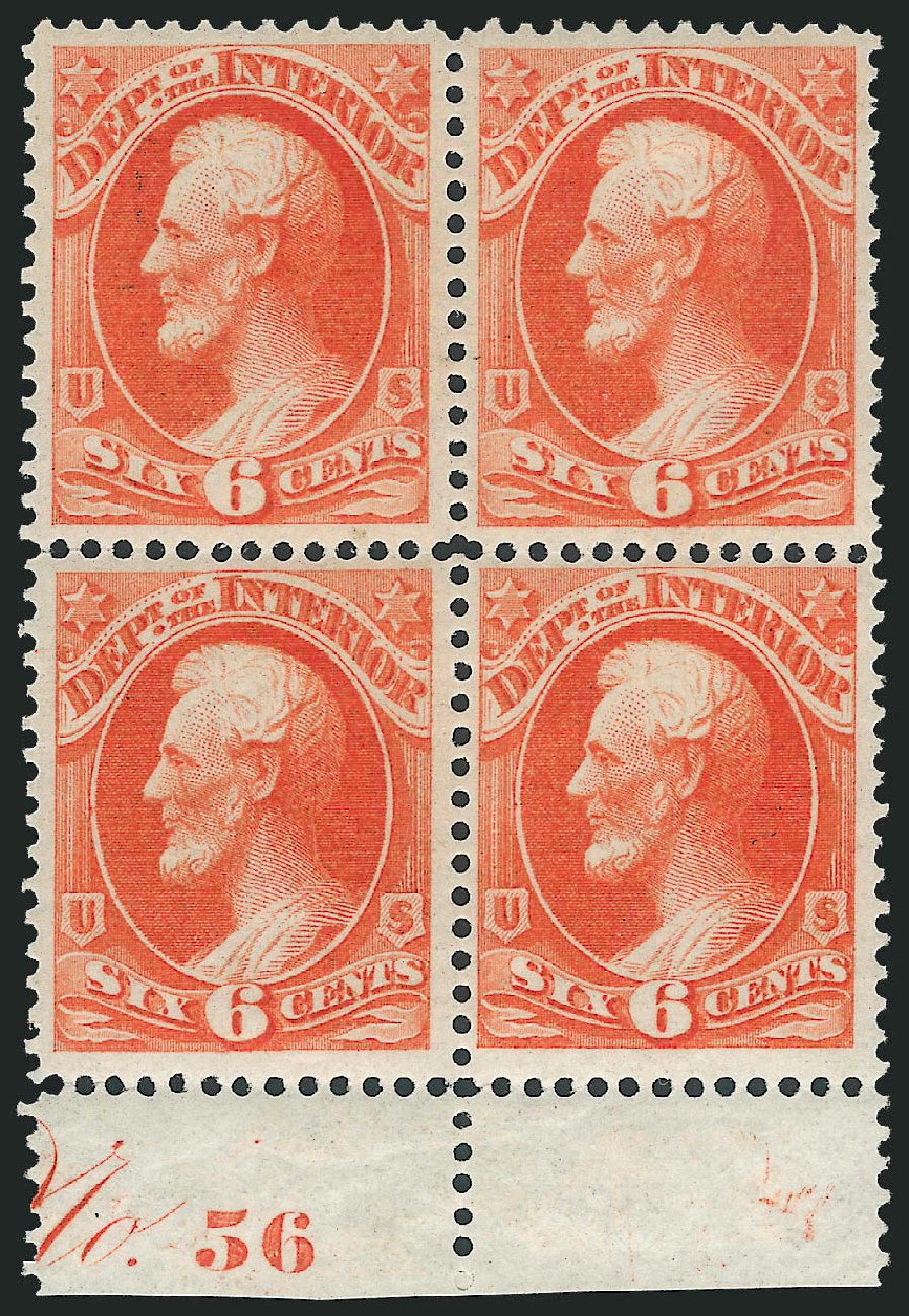 Prices of US Stamp Scott Catalog O18: 6c 1873 Interior Official. Robert Siegel Auction Galleries, Jul 2013, Sale 1050, Lot 766