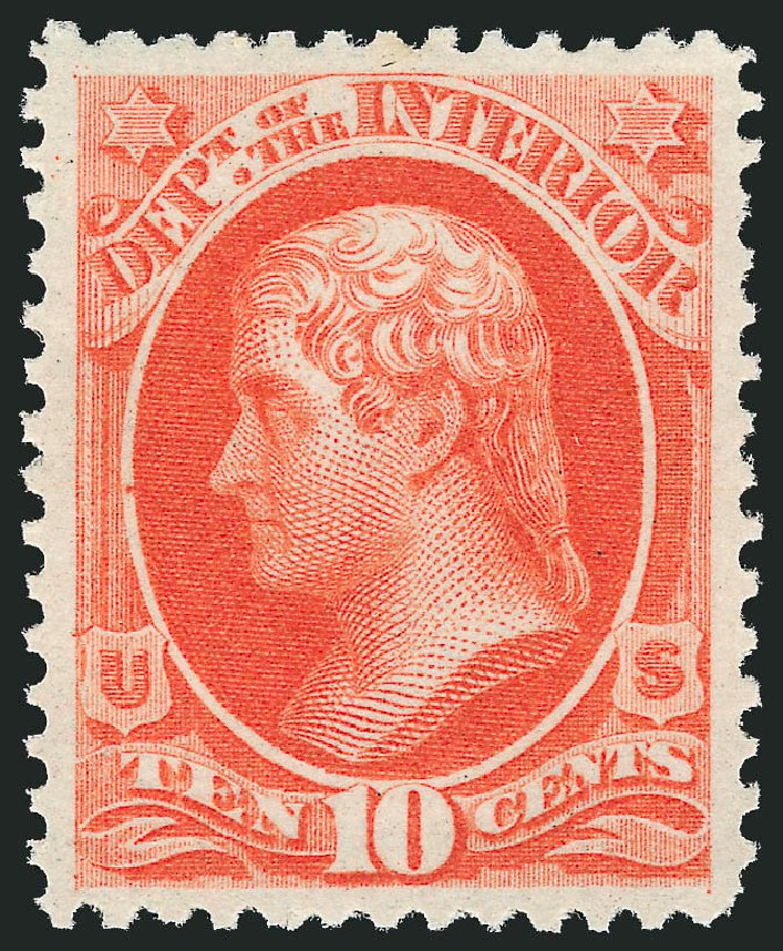 Prices of US Stamps Scott Cat. #O19 - 1873 10c Interior Official. Robert Siegel Auction Galleries, Apr 2010, Sale 984, Lot 1157