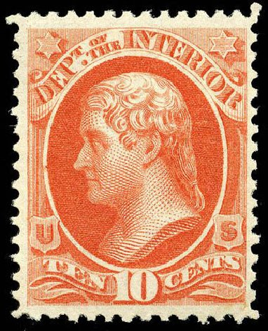 Values of US Stamp Scott Cat. # O19 - 1873 10c Interior Official. Matthew Bennett International, Apr 2008, Sale 326, Lot 679