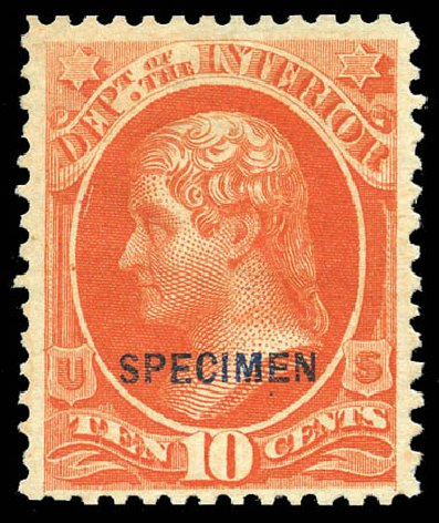 Values of US Stamp Scott Catalog # O19: 10c 1873 Interior Official. Matthew Bennett International, Mar 2011, Sale 336, Lot 1390