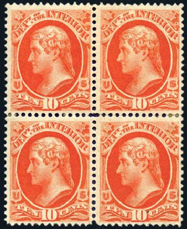 US Stamp Price Scott Catalogue #O19 - 1873 10c Interior Official. Harmer-Schau Auction Galleries, Aug 2011, Sale 90, Lot 1711