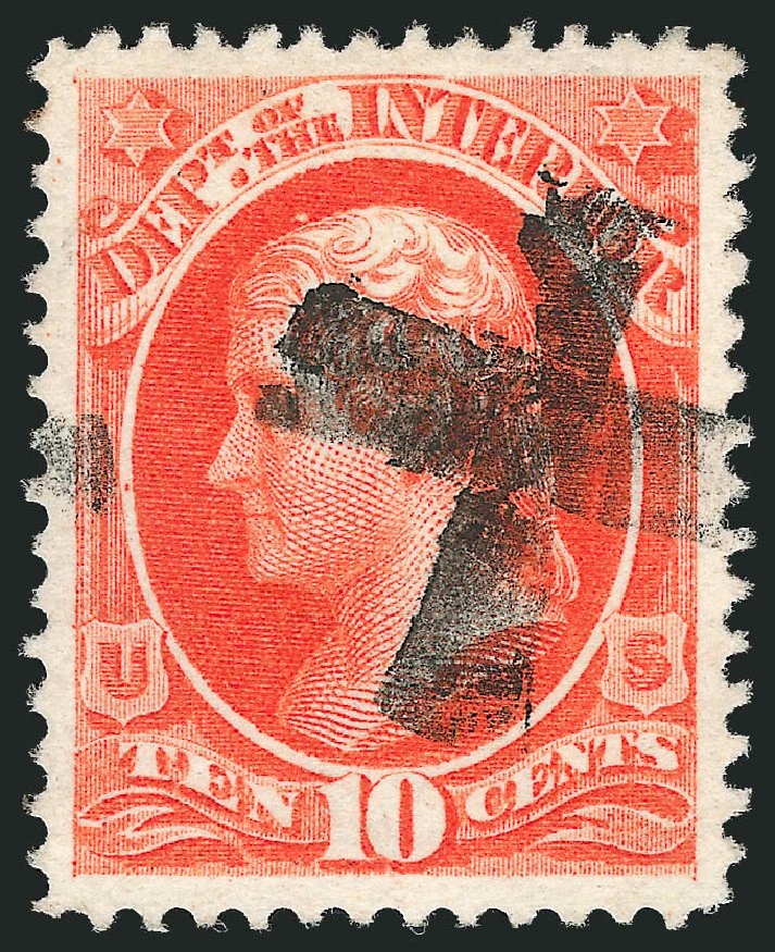 Costs of US Stamps Scott Catalog # O19 - 10c 1873 Interior Official. Robert Siegel Auction Galleries, Oct 2012, Sale 1032, Lot 3651