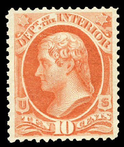 US Stamp Prices Scott Catalog O19: 1873 10c Interior Official. Matthew Bennett International, Mar 2012, Sale 344, Lot 4814